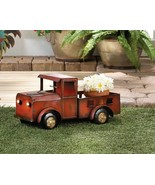 Rustic Iron Red Truck Planter w/ Solar Headlights Indoors, Patio or Porch - $45.49