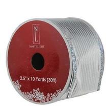 "Northlight Shimmery Silver Horizontal Wired Christmas Ribbon 2.5"" x 10 Y... - $185,09 MXN"