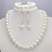 New arrival Christmas Gifts Women Girls 10mm White Round Shell Pearl Bea... - $24.74
