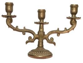 Judaica Shabbat Candlestick Candle Holder Candelabra Bronze Vintage Israel 1960s image 2