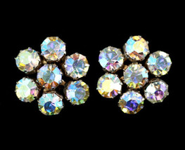 Vintage Weiss Large Aurora Borealis Rhinestone Star Clip Back Earrings - $71.98