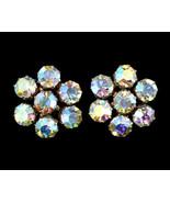 Vintage Weiss Large Aurora Borealis Rhinestone Star Clip Back Earrings - $71.98