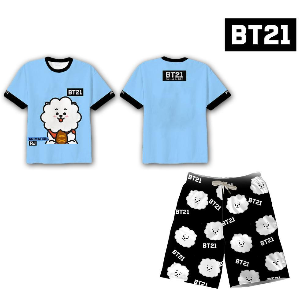 2Pcs Hot Kpop Bangtan Boys Bts Bt21 Koya Tata Rj Clothes Set T-Shirt+Shorts Tee