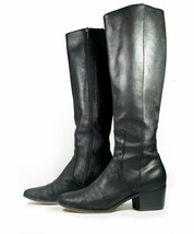 $1200 Jimmy Choo Boots 38 Black Leather Knee High Boots *Excellent* Sz 7.5 - $240.00