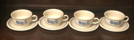 Pfaltzgraff Yorktowne Flat Cups and Saucers 8 Pc Soup or Coffee  Mug Stoneware - $35.00