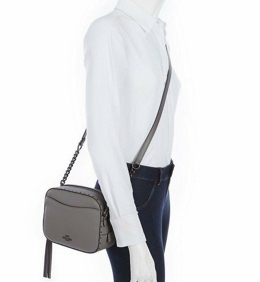 NWT Coach Rivet Camera Gray Leather Crossbody Bag New 31648