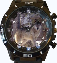 Beautiful Gray Wolf Hunting Prey Trendy Sports Style Unisex Gift Watch - $34.99