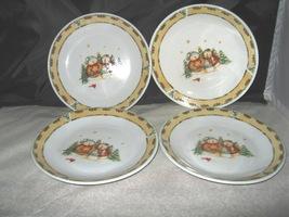 (4) Gibson Snowman Frolic Christmas Salad Plates Debi Hron - $10.00