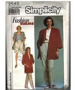 9645 Simplicity Vintage Näh Muster Misses Hosen Shorts Lose Passform Jacke - $4.89