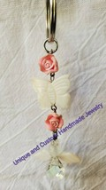 "Angel butterfly flower mother of pearl glass clay 4 1/2"" handmade keyring - $6.00"
