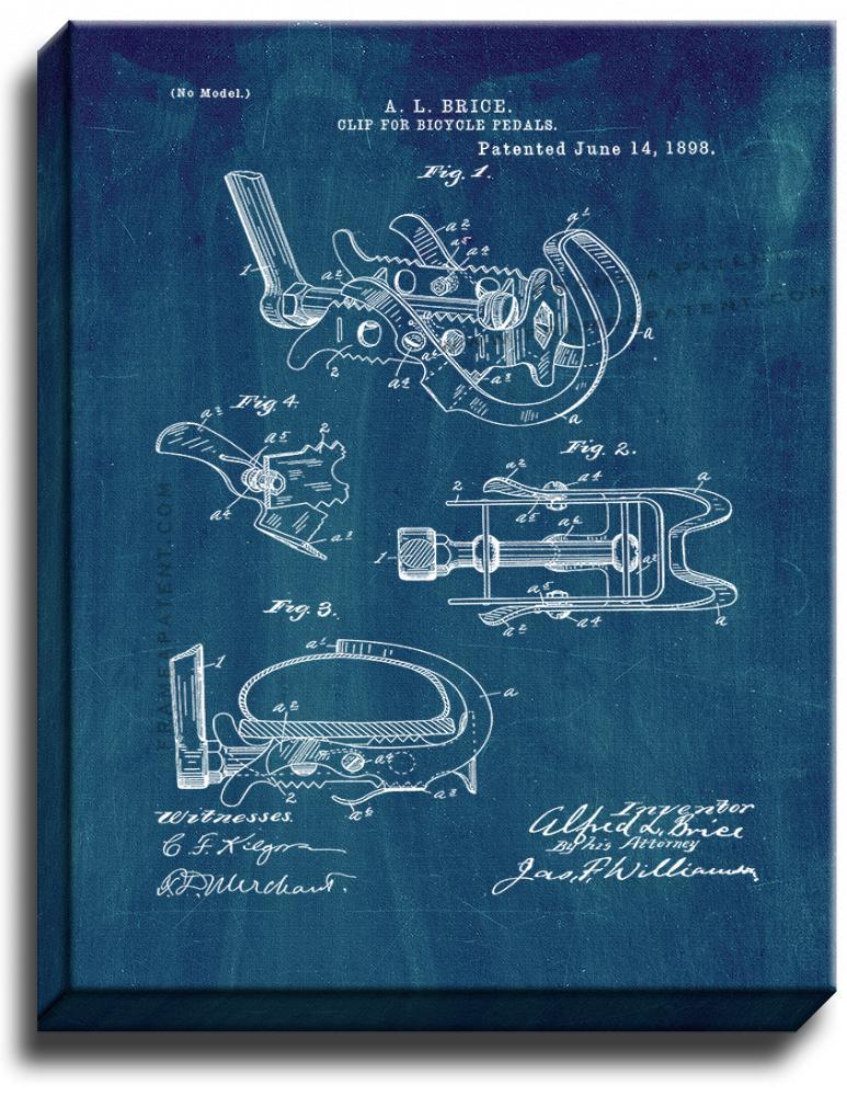 Primary image for Clip For Bicycle Pedals Patent Print Midnight Blue on Canvas
