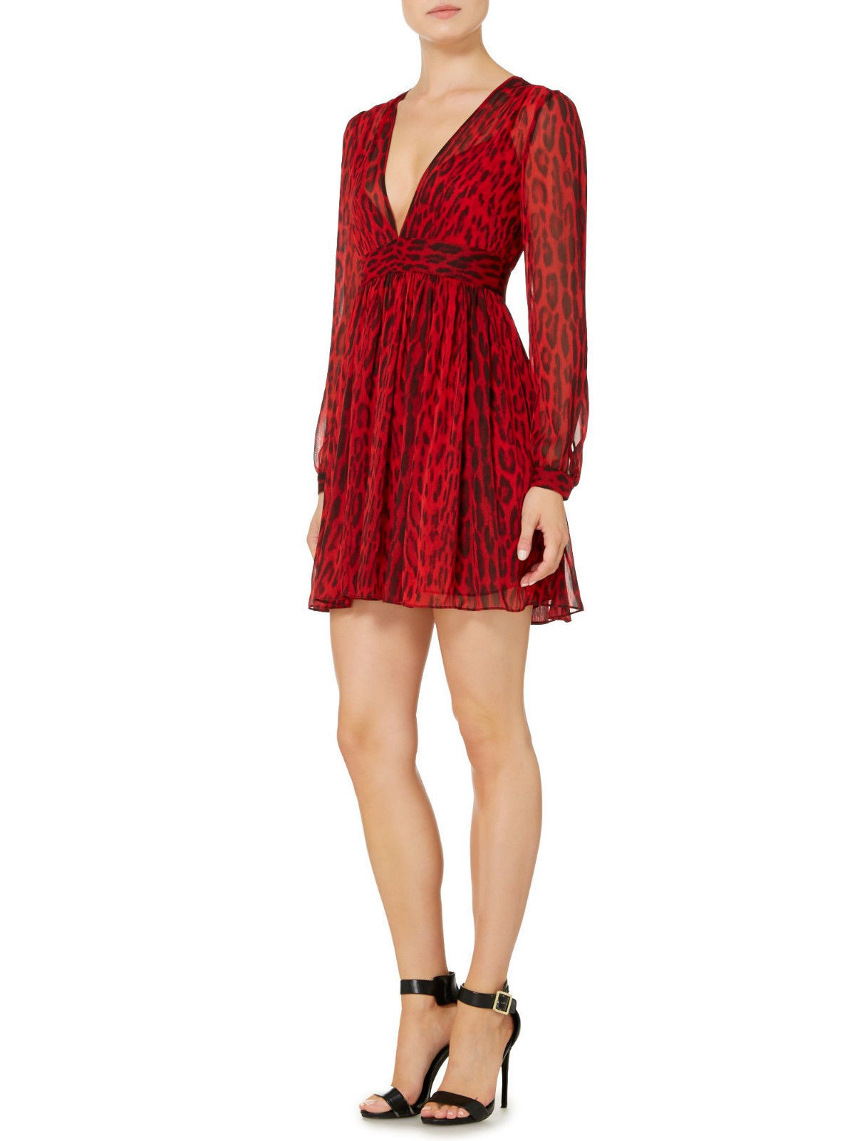 Primary image for MICHAEL Michael Kors New Womens Red/Black Printed Ruched V-neck Dress   10