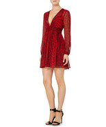 MICHAEL Michael Kors New Womens Red/Black Printed Ruched V-neck Dress   10 - $137.61