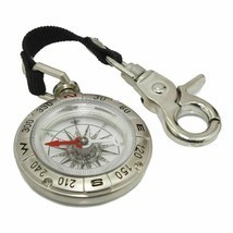 Portable Outdoor Hiking Camping Alloy Silver Handheld Compass Key Chain ... - $15.11