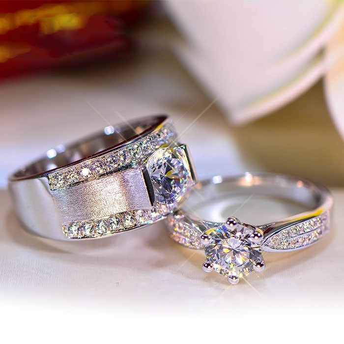 Men's & Women's Couple Wedding Ring Set 14k White Gold 925 Silver Round Cut CZ
