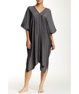 NWT New Designer Natori Womens S Caftan Black Dark Gray Rayon Blend Long... - $120.25