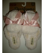 Dearfoams Women's Memory Foams House Slide Slippers Ivory Faux Fur Mediu... - $25.73