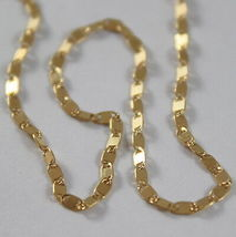 SOLID 18K YELLOW GOLD CHAIN NECKLACE, SQUARE OVAL LINK 15.75 IN. MADE IN ITALY image 3