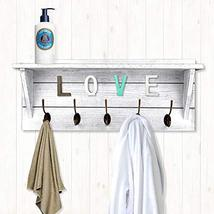 Rustic Coat Rack Wall Mounted,Wall Coat Hooks with 2 DIY Decorations Entryway Co image 6
