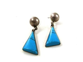 Vintage Mexican Taxco Sterling Silver Blue Pierced Earrings By TC-261 13117 - $26.72
