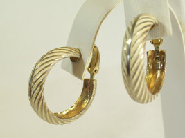 LEWIS SEGAL Gold Plate Cream Enamel CHEVRON Design HOOP Clip Earrings Vi... - $13.85