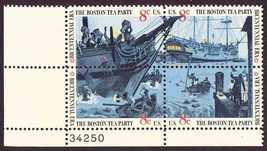 1973 8c Boston Tea Party Plate Block of 4 US Stamps Catalog Number 1480-83 MNH
