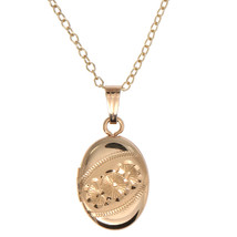 14kt Gold Filled Child Oval Locket Necklace Baptism Gift Welcoming Gift - $46.75