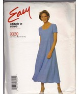 Easy McCalls Pattern 9320 Empire-Waist Dress w/ Back Ties + Flared Skirt 8-14 UC - $6.92