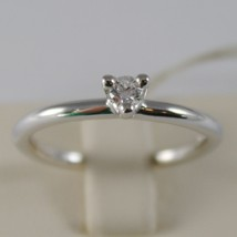 18K WHITE GOLD SOLITAIRE WEDDING BAND TRIANGLE RING DIAMOND 0.12 MADE IN ITALY image 1