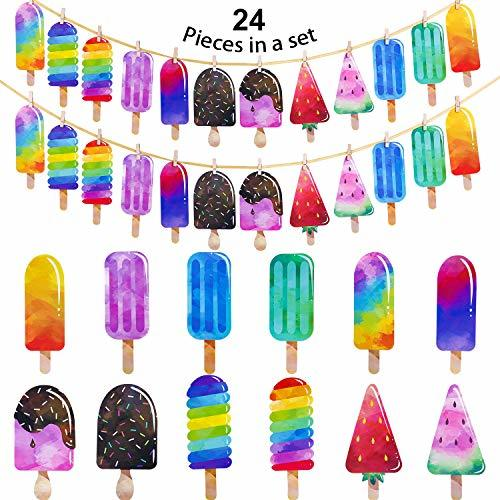Leinuosen 2 Pack Popsicle Banner Ice Cream Banner Ice Cream Party Garland for Sc