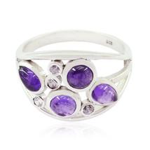 Lovely Gemstones Fancy Shape cabochon Amethyst ring - Sterling Silver Pu... - $14.99