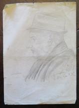 Portrait Male Antique Drawing Pencil On Basket Signed Pancaldi Gaetano P... - $14.05