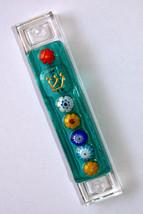 Murano Glass Handmade Mezuzah Case w 6.5 cm Scroll Green Murrina Judaica