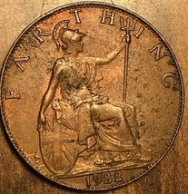 1922 GREAT BRITAIN FARTHING COIN - $4.49