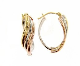 18K YELLOW WHITE ROSE GOLD OVAL HOOP WAVE EARRINGS SIZE 24 x 13 MM MADE IN ITALY image 1