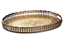 Antique Brass Oval Gallery Chippendale Serving Tray,21'' L x 15''W - €214,43 EUR
