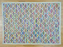 "8'10""x12' Geometric Design Kilim Hand Woven Cotton and Sari Silk Rug G29431 - $351.56"