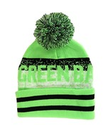 Green Bay Pixelated Adult Size Winter Knit Pom Beanie Hat (Neon Green/Bl... - $13.75