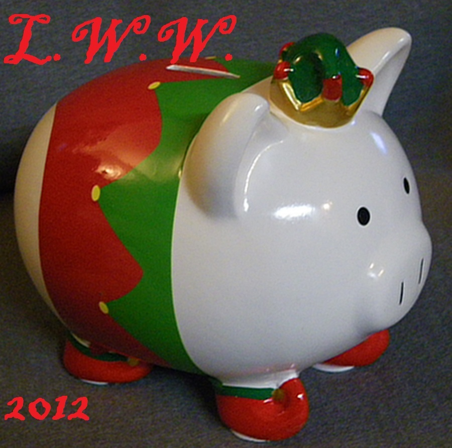 Large Ceramic Christmas Red Green and White Santa's Elf Piggy Bank