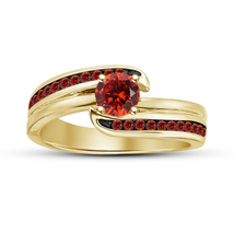 Women's Anniversary Ring Round Cut Red Garnet 14k Yellow Gold Plated 925... - $74.99