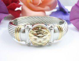 CLAMPER BRACELET Vintage Silvertone & Goldtone Accents Round Front Piece... - $16.99