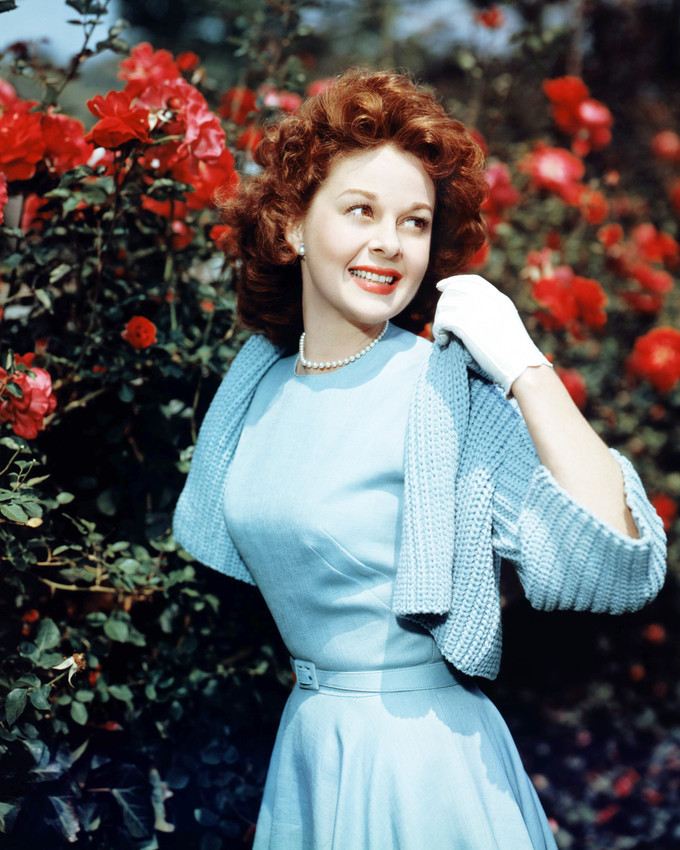 Primary image for Susan Hayward in Blue Dress 1940's by Flowers 16x20 Canvas
