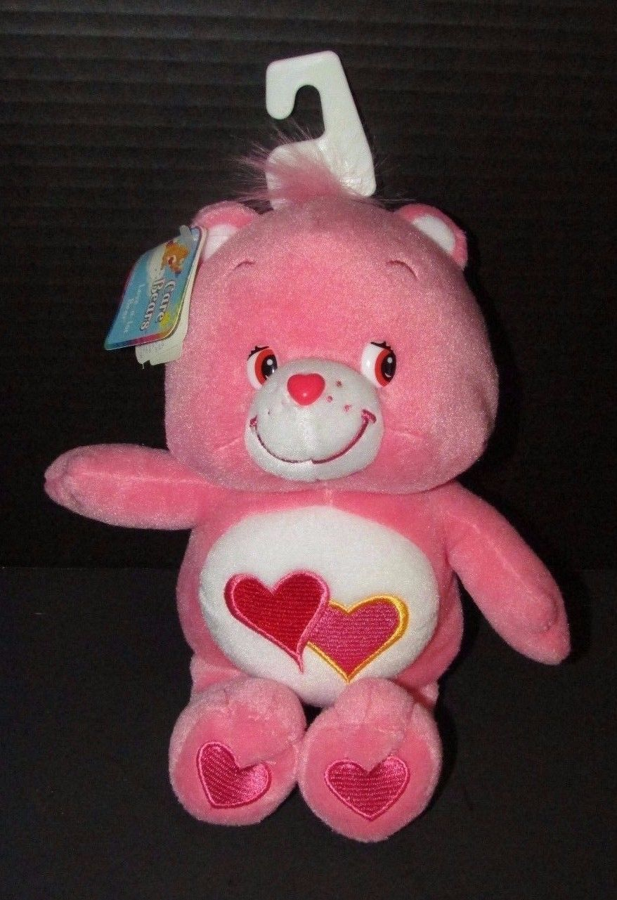 "Care Bears Love a Lot pink 2 hearts tummy plush w/ tags 10"" 2002 TCFC"