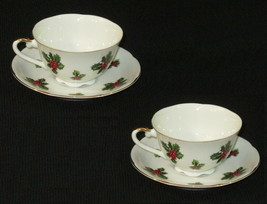 2 Lefton Vintage China Cup Saucer Set #7950 Christmas Holly Berries Holiday - $18.80