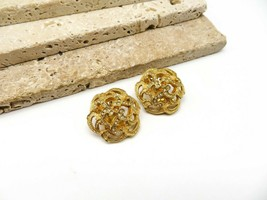 Vintage De Nicola Dimensional Gold Tone White Rhinestone Clip On Earring... - $16.99