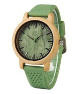 BOBO BIRD Unisex Japan Analog Quartz Mens Womens Wood Watch Green - $25.98