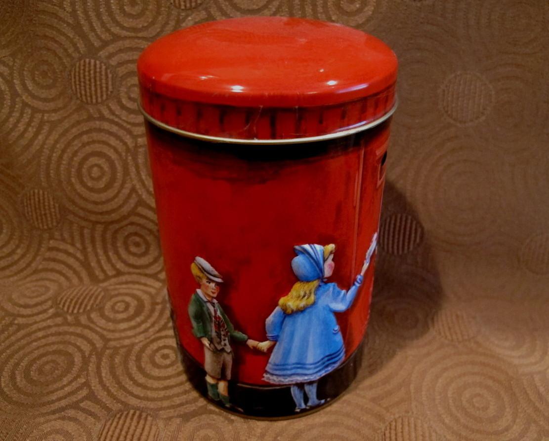 Churchills of England Money Box Tin Can Vintage Souvenir Piggy Bank POST OFFICE