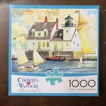Buffalo 1000 Pc Puzzle Charles Wysocki - Rockland Breakwater Light w/ Po... - $17.67