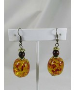 Vintage Faux Amber Drop Dangle Earrings beaded Beads 52175 - $15.83