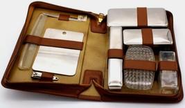 Vintage Tan Leather Men's Travel 10 Piece Groom Toiletry Kit Monogrammed  - $35.99